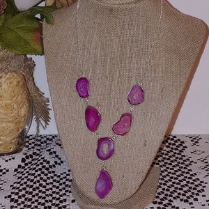 New Pink Druzy Stone Statement necklace